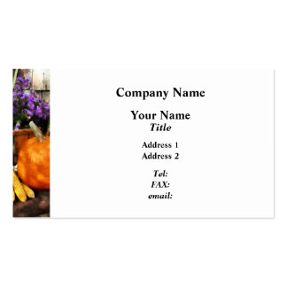 Pumpkin, Corn and Asters Business Card Template