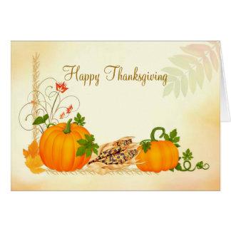 Pumpkin, corn and fall leaves Thanksgiving Card