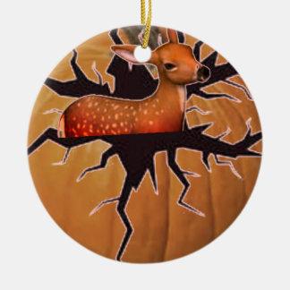 Pumpkin Deer Ceramic Ornament