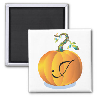 Pumpkin Design Monogram J Square Magnet