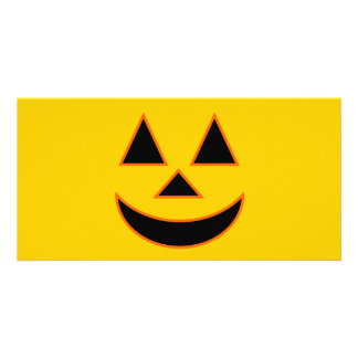Pumpkin Face Holiday Design You Can Customize Personalised Photo Card