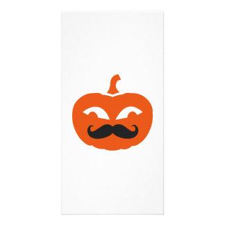Pumpkin face mustache photo greeting card