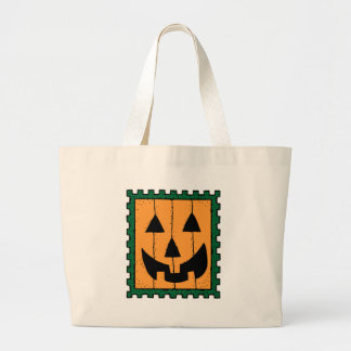 Pumpkin Face Stamp Design Canvas Bag