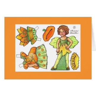 Pumpkin Fairy Halloween paper doll card