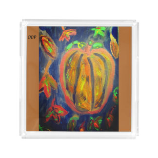 Pumpkin fall art acrylic tray