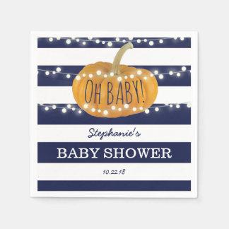Pumpkin Fall Chic Boy Baby Shower Blue Disposable Napkins