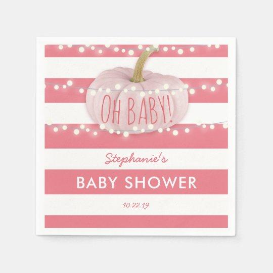 Pumpkin Fall Chic Girl Baby Shower Pink Disposable Serviette