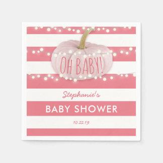 Pumpkin Fall Chic Girl Baby Shower Pink Disposable Serviettes