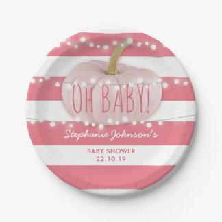 Pumpkin Fall Chic Pink Girl Baby Shower Paper Plate