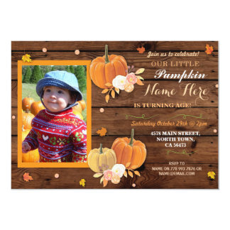 Pumpkin Fall Wood Birthday Party ANY Age Invite