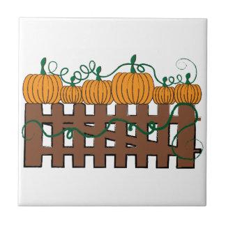 Pumpkin Fence Ceramic Tile