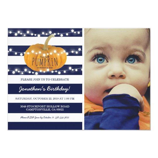 Pumpkin First Birthday | Autumn Fall Boy Blue Card