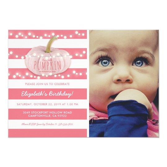 Pumpkin First Birthday | Autumn Fall Girl Pink Card