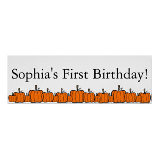 Pumpkin First Birthday Poster