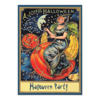 Pumpkin Flying Witch Halloween Party Card