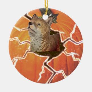 Pumpkin Fox Ceramic Ornament