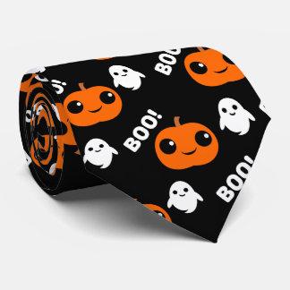 Pumpkin Ghost Halloween Pattern Tie
