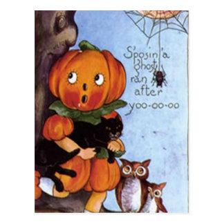 Pumpkin Girl With Cat Postcard