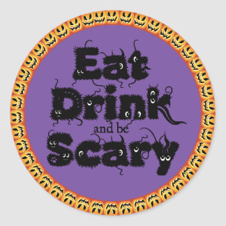 Pumpkin Halloween 'eat,drink and be scary' Sticker