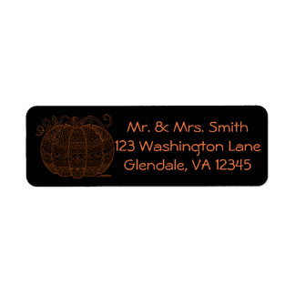 Pumpkin Halloween Thanksgiving Fall Art Orange Return Address Label