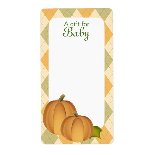 Pumpkin Harvest Argyle Book Tags Baby Blue Shipping Label