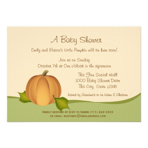 Pumpkin Harvest Baby Shower Personalized Invitations