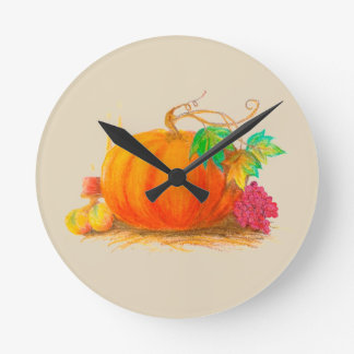 Pumpkin harvest round clock