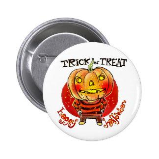 pumpkin head halloween boy trick or treat cartoon 6 cm round badge
