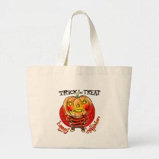 pumpkin head halloween boy trick or treat cartoon large tote bag