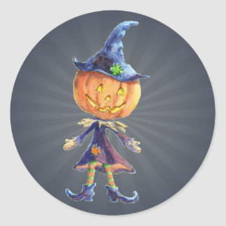 PUMPKIN HEAD & HAT by SHARON SHARPE Round Sticker