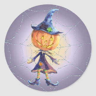 PUMPKIN HEAD, HAT & WEB by SHARON SHARPE Round Sticker