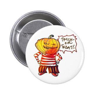 pumpkin head kid say trick or treat halloween 6 cm round badge