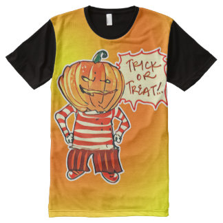 pumpkin head kid say trick or treat halloween All-Over print T-Shirt