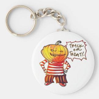 pumpkin head kid say trick or treat halloween basic round button key ring