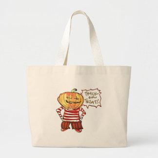 pumpkin head kid say trick or treat halloween large tote bag