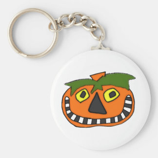 Pumpkin Head Trick or Treat Basic Round Button Key Ring