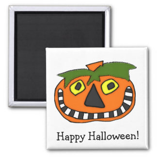 Pumpkin Head Trick or Treat Square Magnet