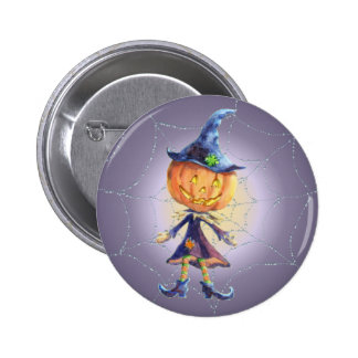 PUMPKIN HEAD, WEB & HAT by SHARON SHARPE 6 Cm Round Badge