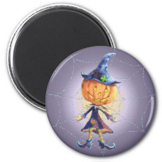 PUMPKIN HEAD, WEB & HAT by SHARON SHARPE 6 Cm Round Magnet