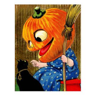 Pumpkin-Head Witch and Black Cat Postcard