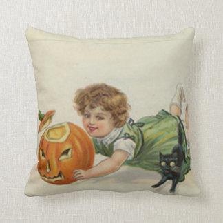 Pumpkin Jack O Lantern Black Cat Girl Throw Pillow
