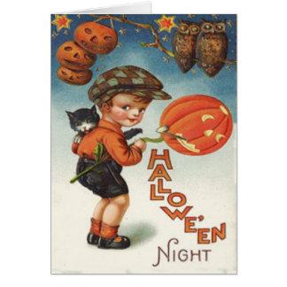 Pumpkin Jack O Lantern Cat Boy Greeting Card