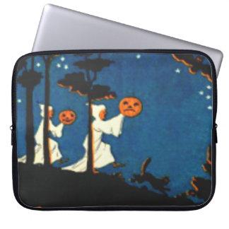 Pumpkin Jack O Lantern Ghost Black Cat Laptop Sleeve