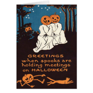 Pumpkin Jack O' Lantern Ghost Black Cat Tree Greeting Card