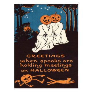 Pumpkin Jack O' Lantern Ghost Black Cat Tree Postcard