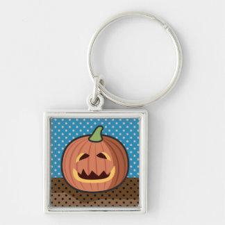 Pumpkin Jack-O'-Lantern Silver-Colored Square Key Ring