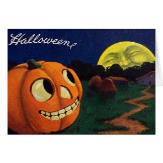 Pumpkin Jack O Lantern Man In The Moon Card