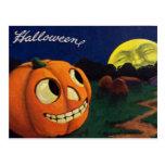 Pumpkin Jack O Lantern Man In The Moon Postcard