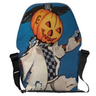 Pumpkin Jack O Lantern Scarecrow Crow Messenger Bag
