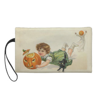Pumpkin Jack O Lantern Witch Black Cat Wristlet Clutches